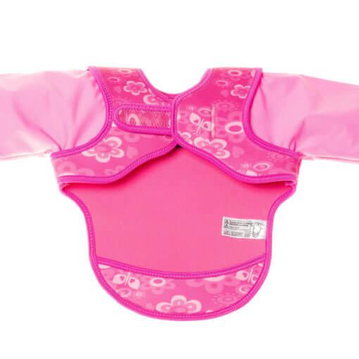neoprenový bryndák s rukávky růžový motýlci - vnitřní strana