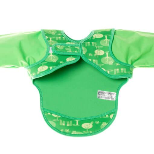 Neoprenový bryndák Bibetta s rukávky - zelené sovy